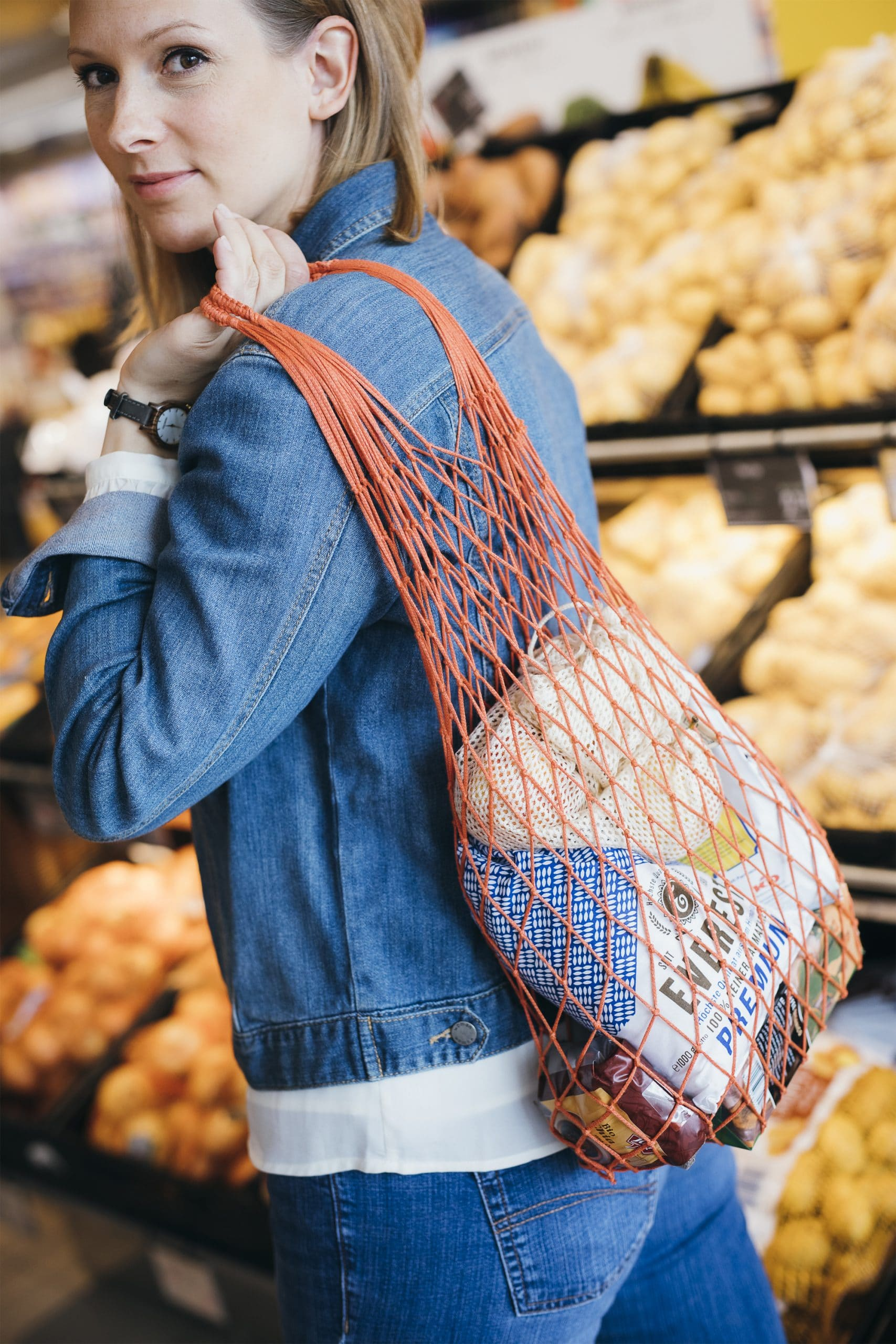 Packnatur Pop-up bag grocery net bag in action